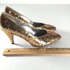 Ann Marino Gold Sequent Heels